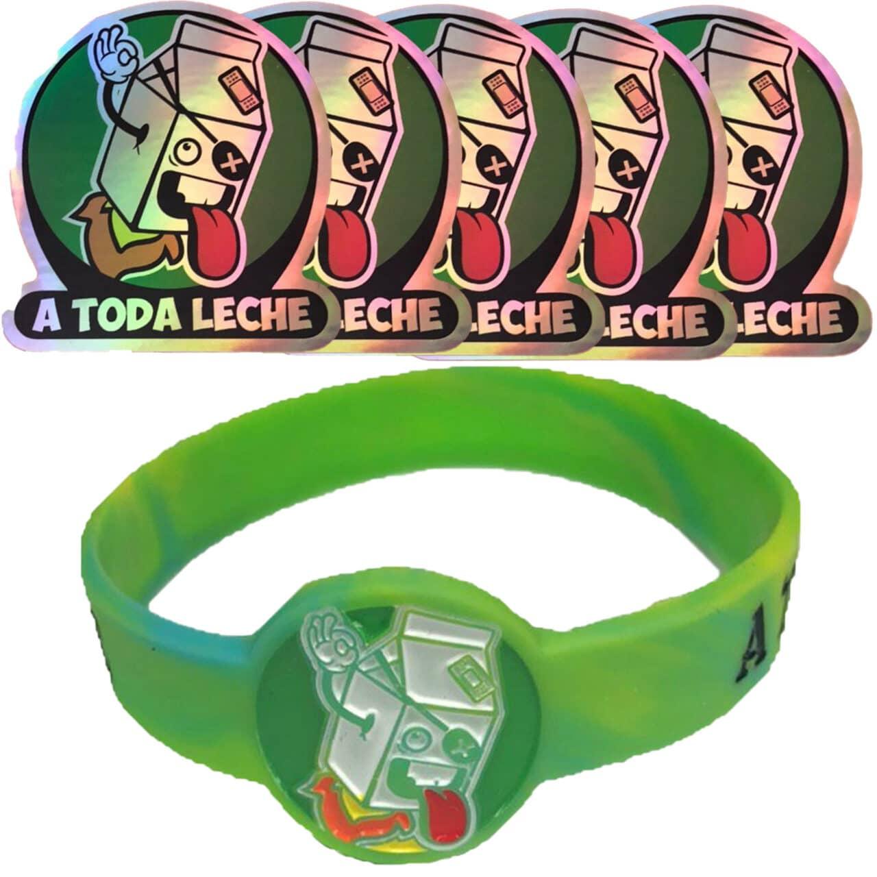 Pack de 5 Pegatinas Holográficas y Pulsera Verde
