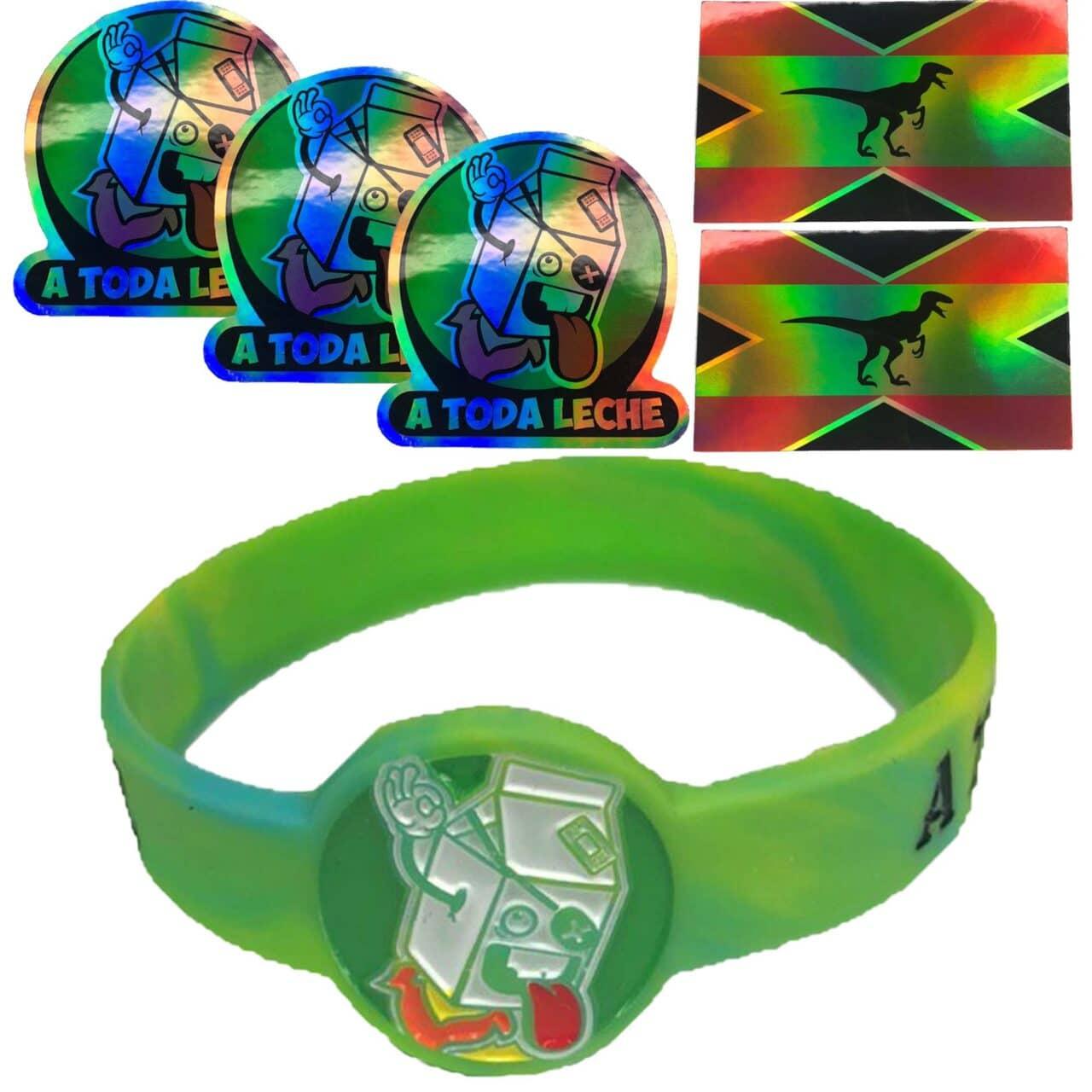 Pack de 5 Pegatinas ( 3 Logo + 2 Bandera) y Pulsera Verde